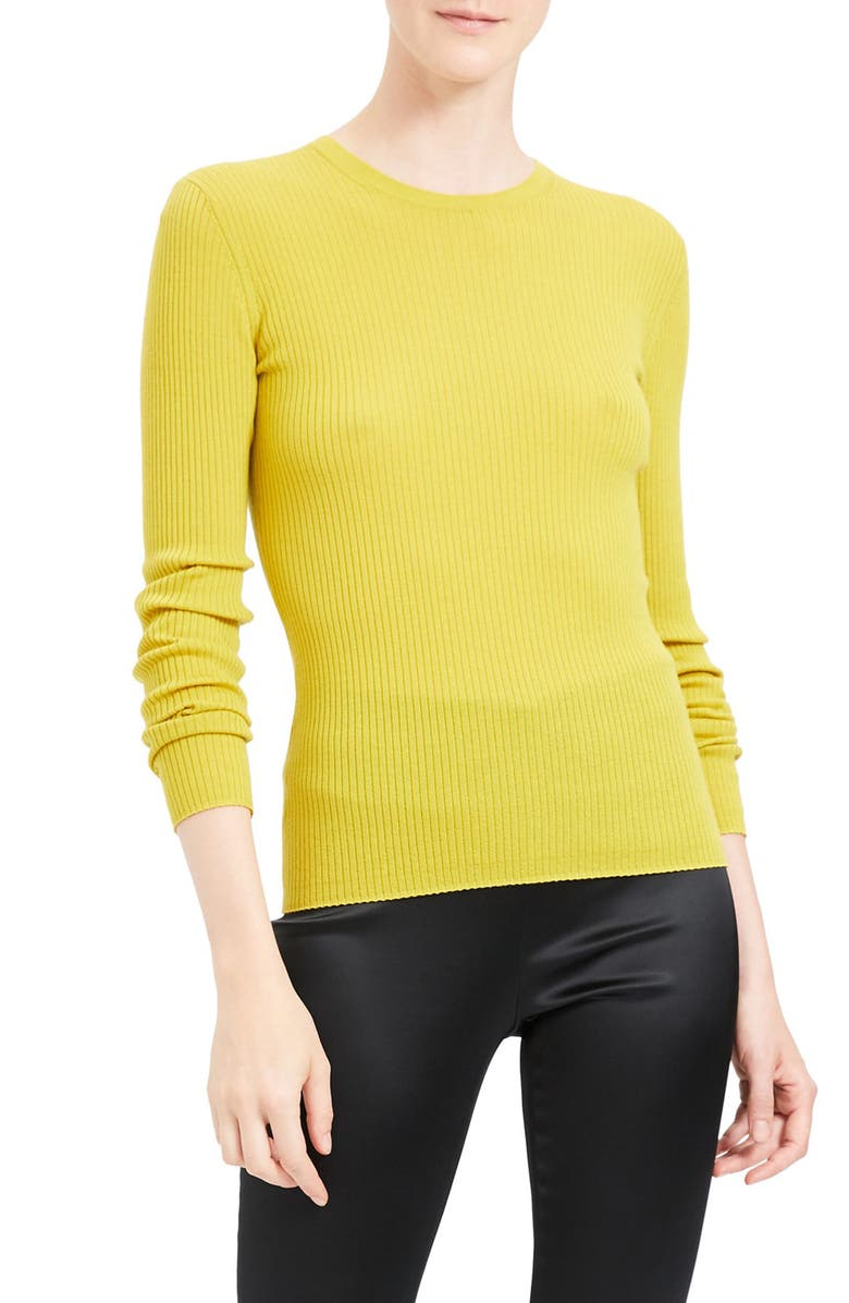 THEORY Mirzi RW Regal Ribbed Long Sleeve Wool Blend Sweater, Main, color, LIGHT CITRON