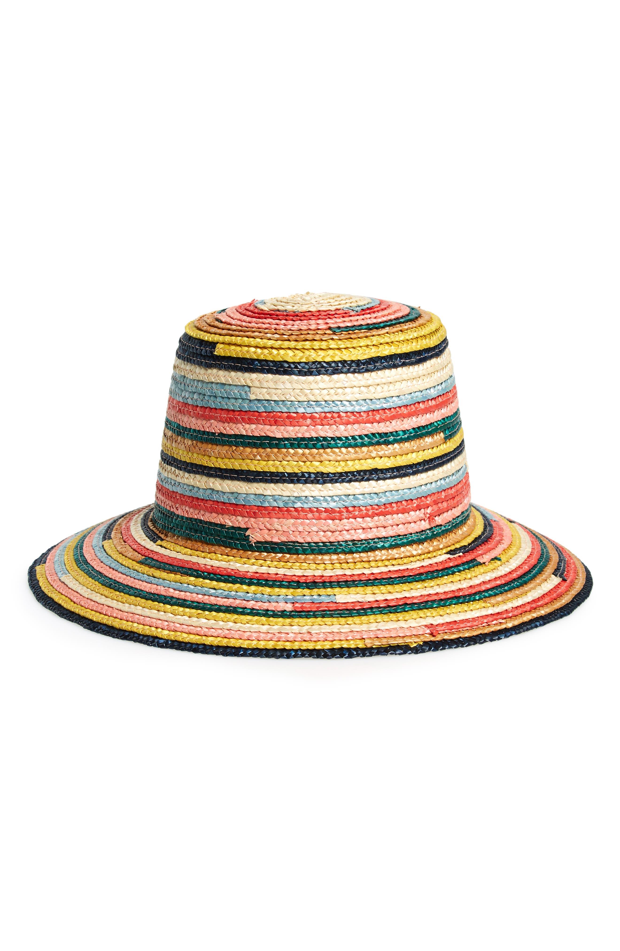 Stevie Rainbow Straw Hat, Main, color, MULTI