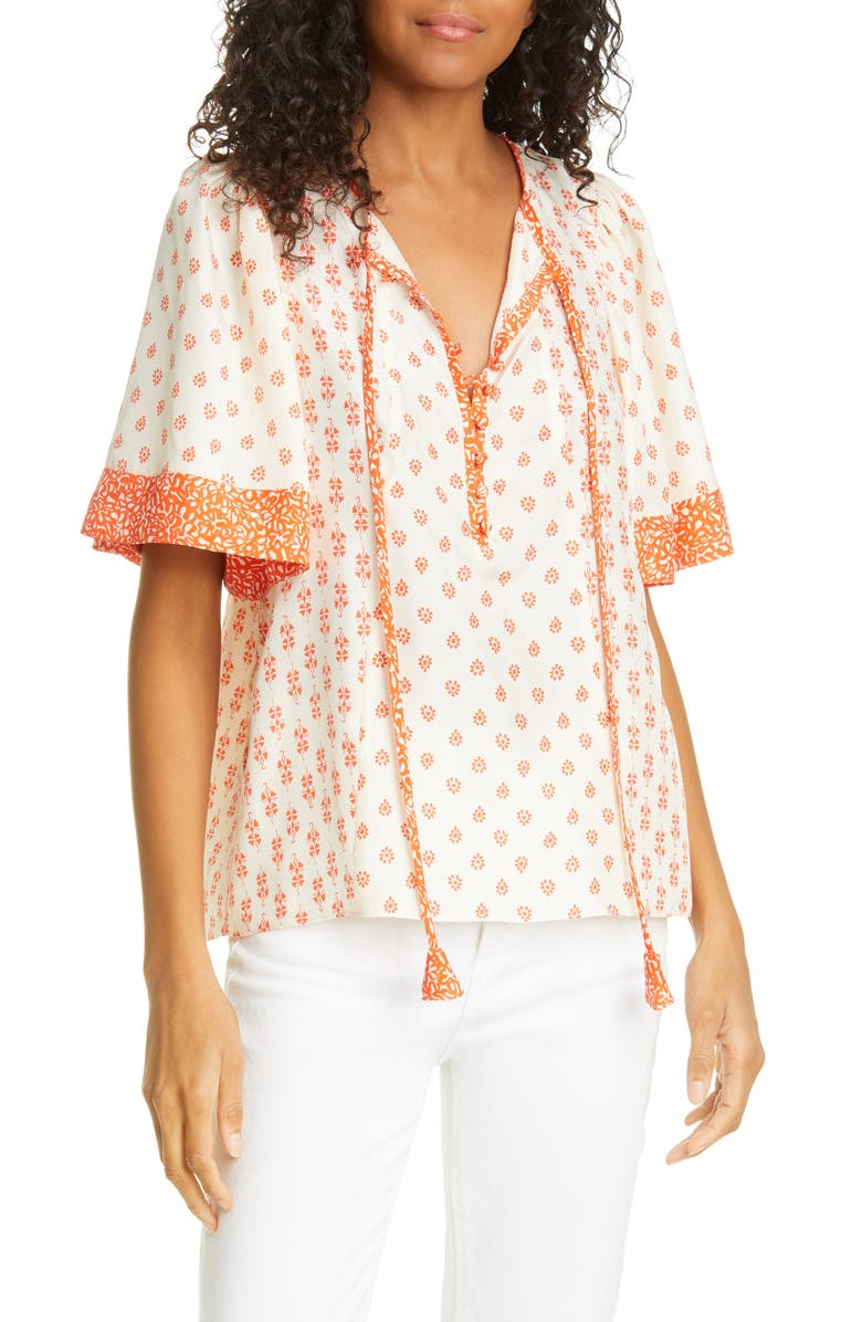 REBECCA TAYLOR Lily Mix Print Short Sleeve Silk Blouse, Main, color, 900