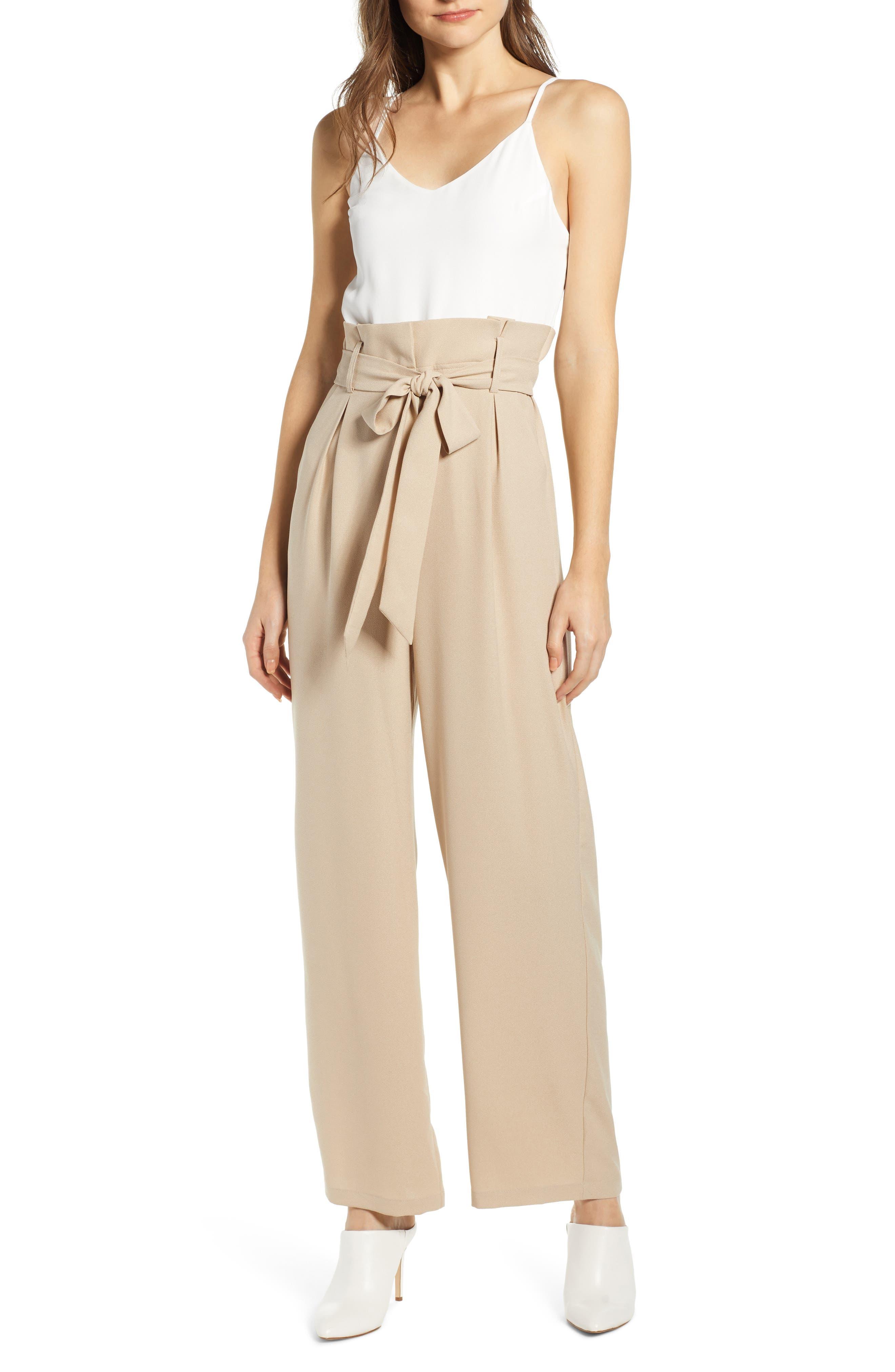 Leith Colorblock Jumpsuit, Brown