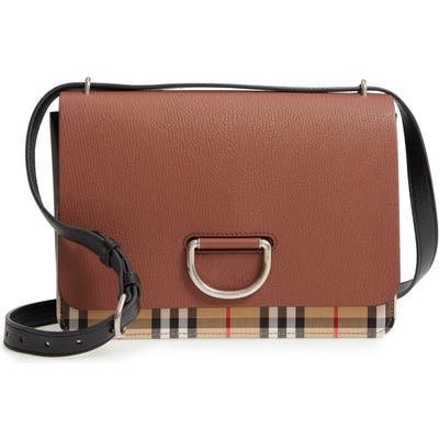 Burberry Medium D-Ring Vintage Check & Leather Crossbody Bag - Brown