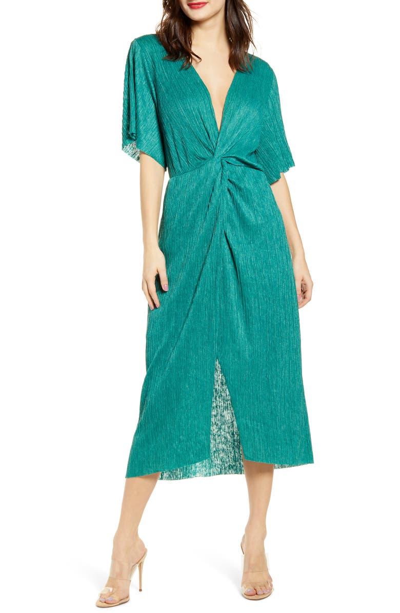 ALL IN FAVOR Dolman Plissé Midi Dress, Main, color, ANTIQUE GREEN