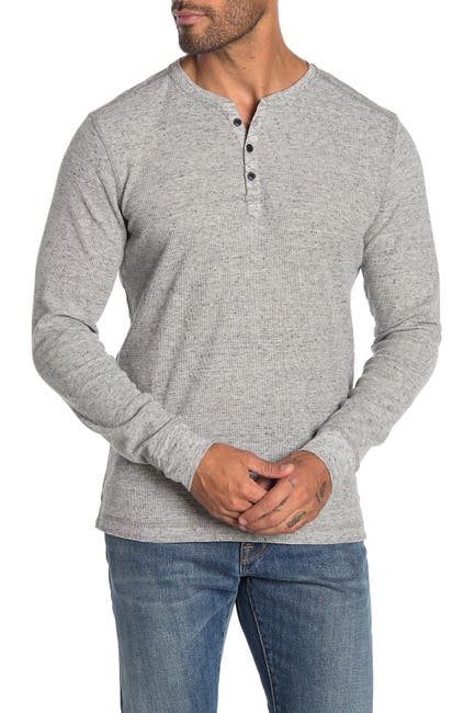 Image of ROBERT BARAKETT Fitzpatrick Long Sleeve Henley T-Shirt