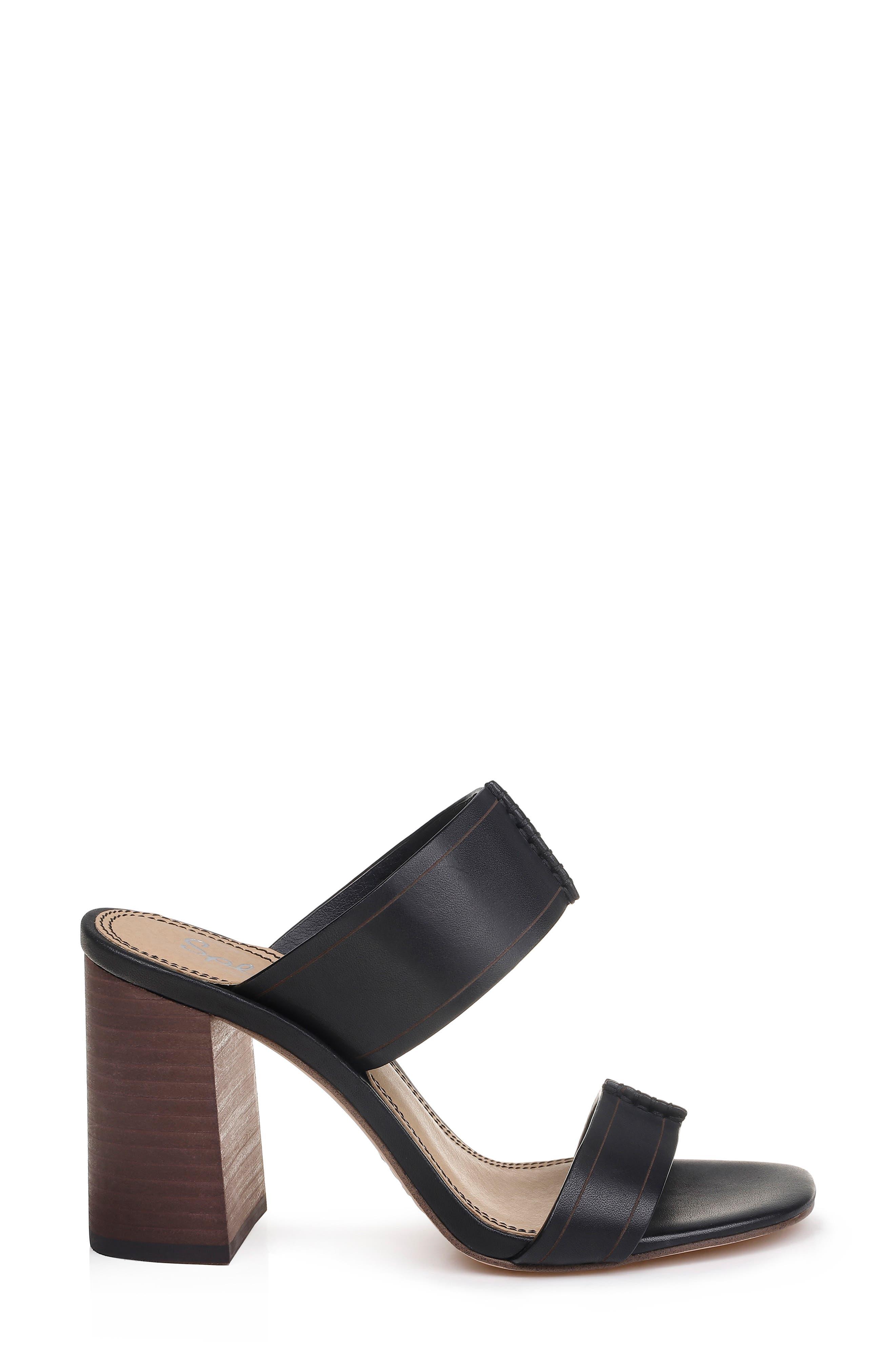 ,                             Tacy Slide Sandal,                             Alternate thumbnail 3, color,                             BLACK LEATHER