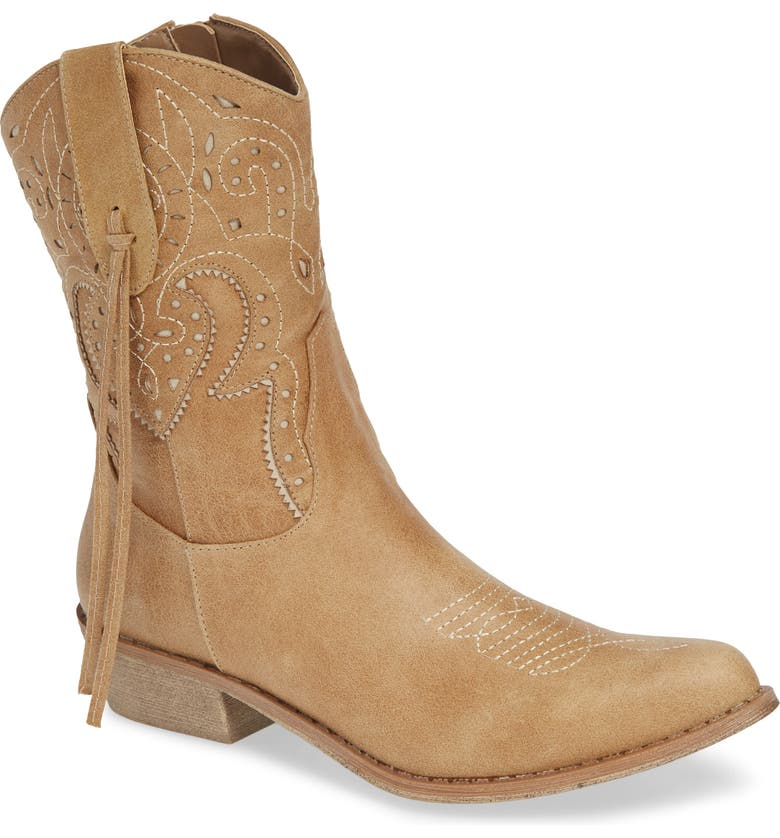 COCONUTS BY MATISSE Nash Perforated Cowgirl Boot, Main, color, NATURAL