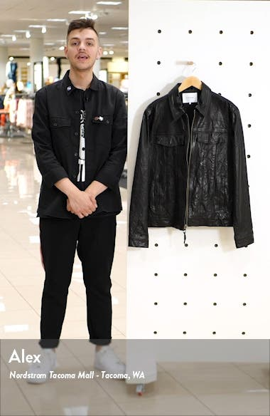 Classic Fit Leather Trucker Jacket, sales video thumbnail
