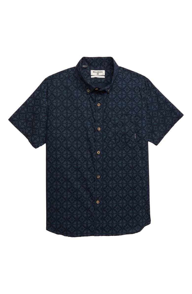 BILLABONG Sundays Mini Short Sleeve Shirt, Main, color, NAVY