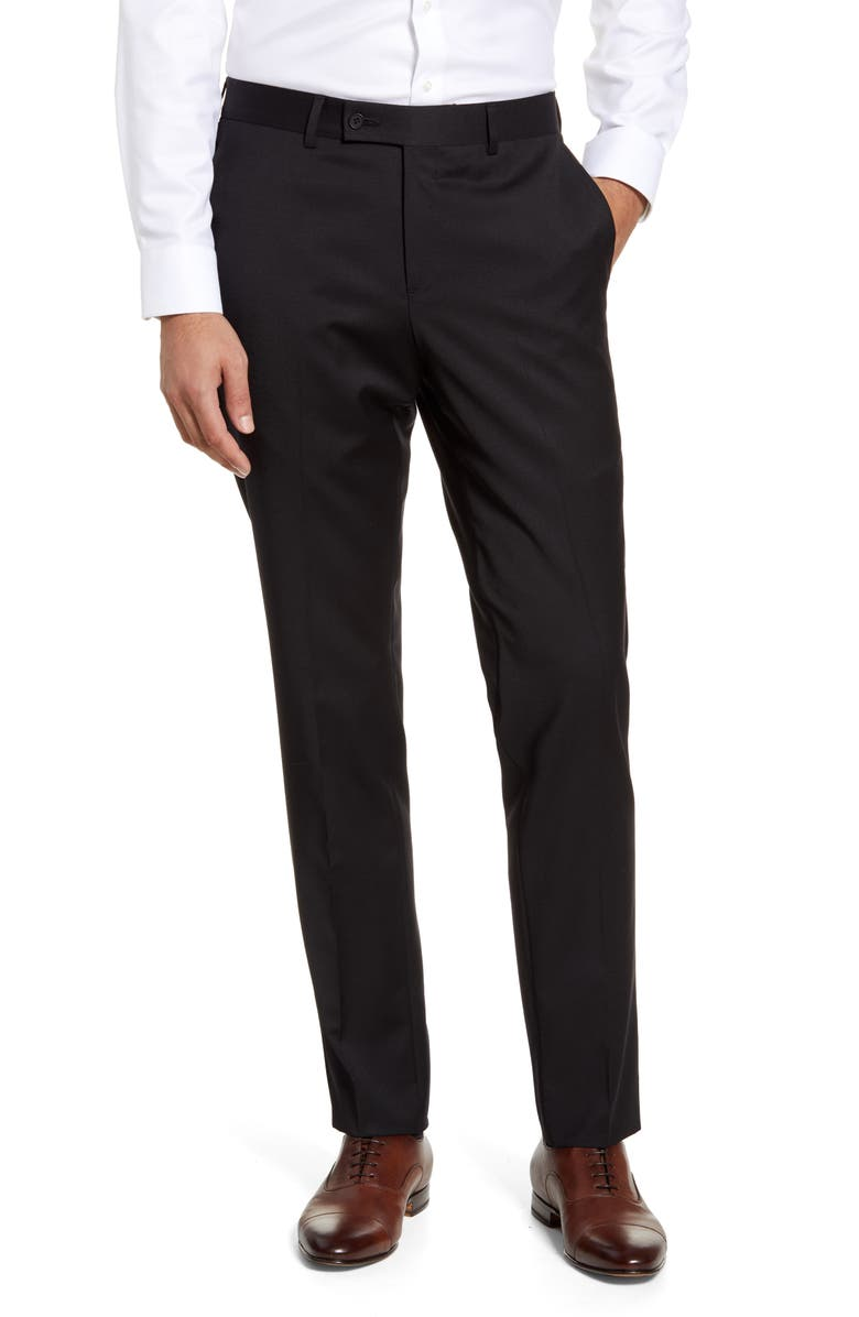 NORDSTROM MEN'S SHOP Trim Fit Wool Blend Dress Pants, Main, color, BLACK CAVIAR