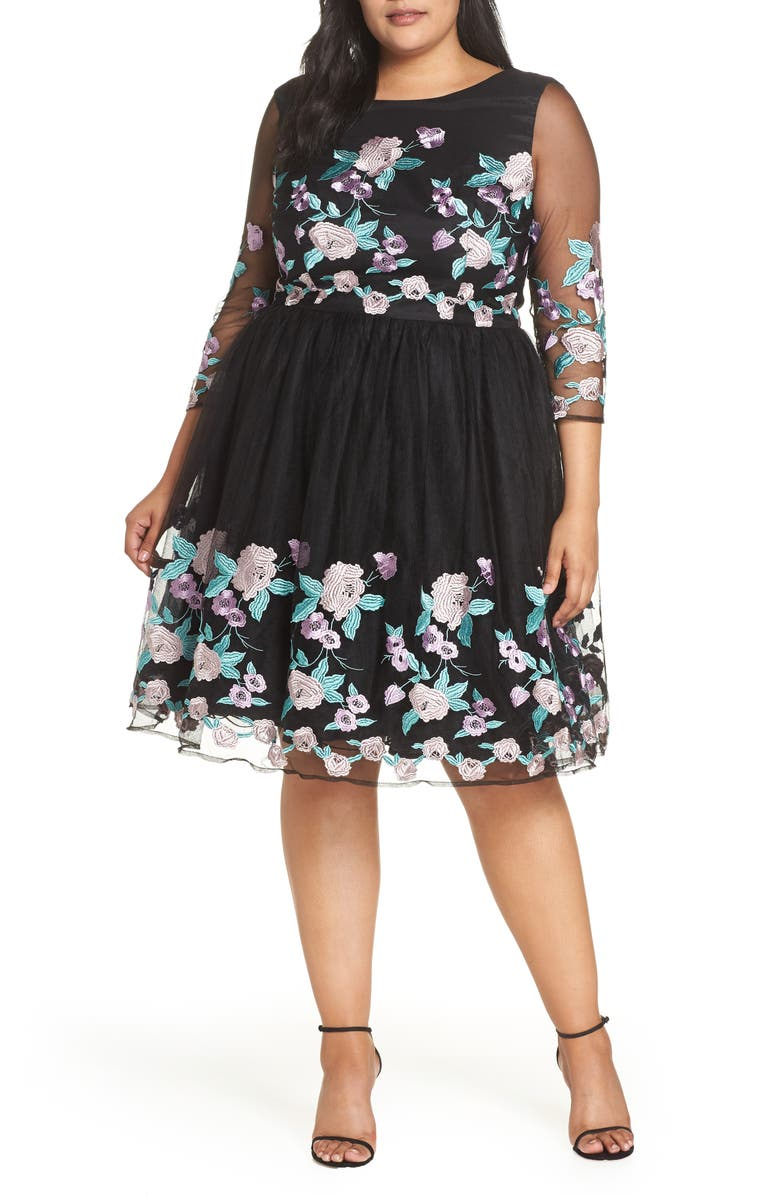 CHI CHI LONDON Embroidered Floral Fit & Flare Dress, Main, color, BLACK