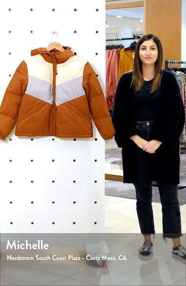 Chevron Colorblock Packable Puffer Jacket, sales video thumbnail