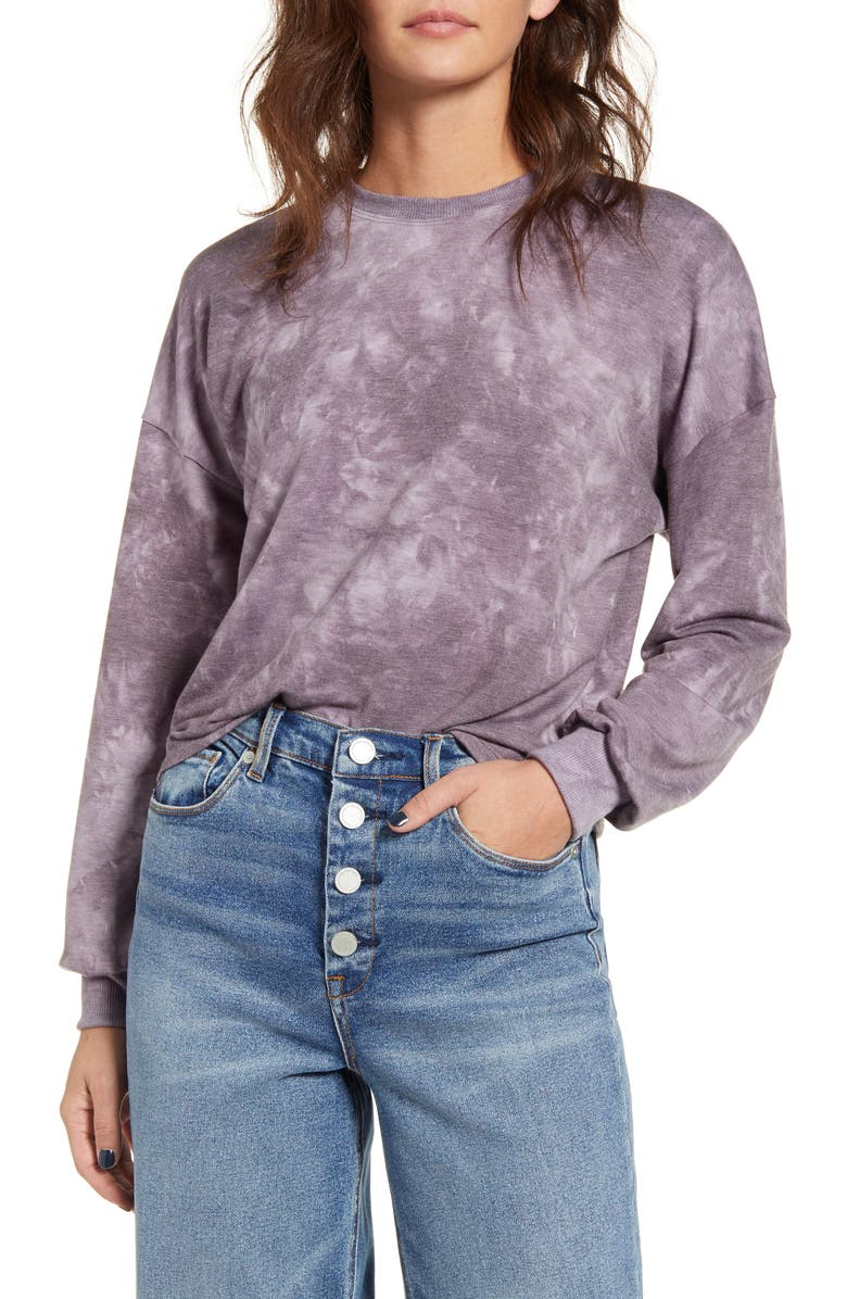 KIRIOUS Tie Dye Long Sleeve Crop Sweatshirt, Main, color, PURPLE TIE DYE
