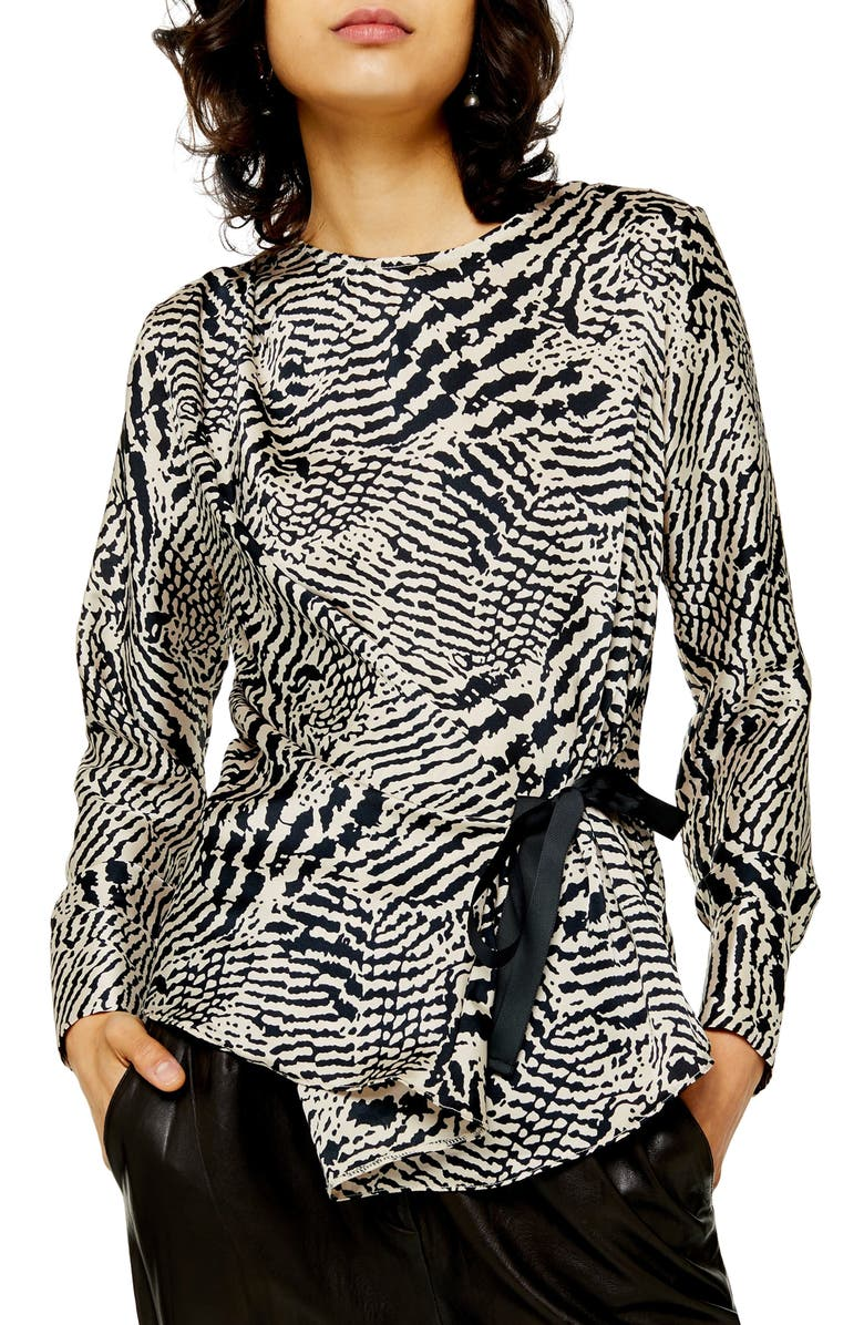 TOPSHOP Animal Print Tie Side Top, Main, color, BLACK MULTI