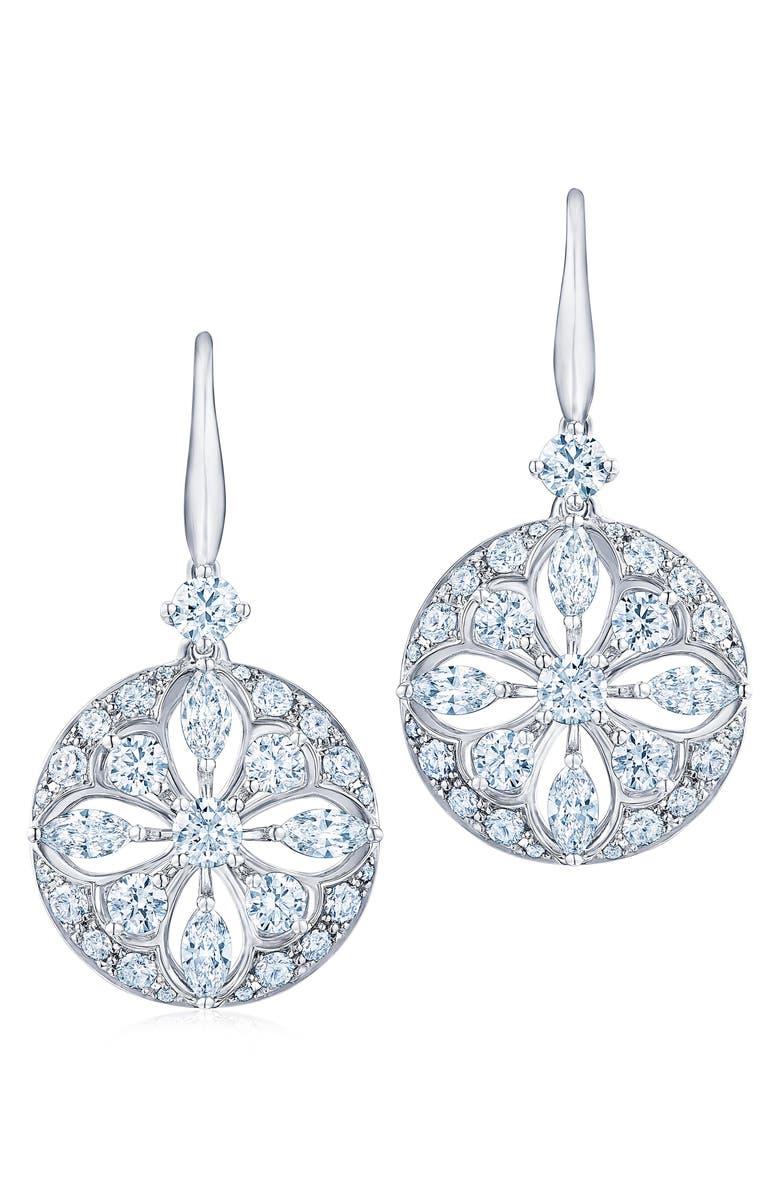 KWIAT Diamond Star Drop Earrings, Main, color, WHITE GOLD