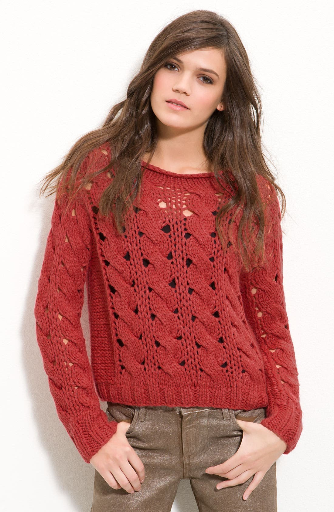 Cable Knit Sweater, Main, color, 649