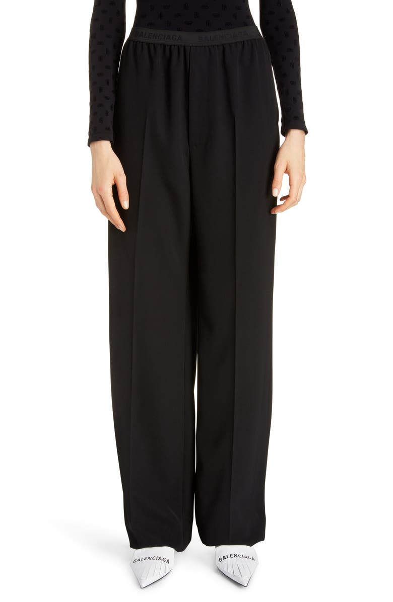 BALENCIAGA Logo Waist Tech Twill Wide Leg Pants, Main, color, BLACK
