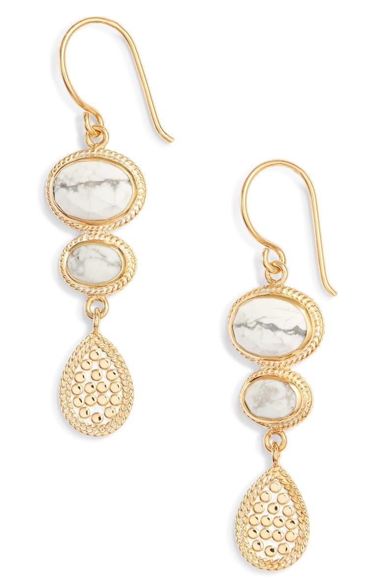 ANNA BECK Howlite Drop Earrings, Main, color, 020