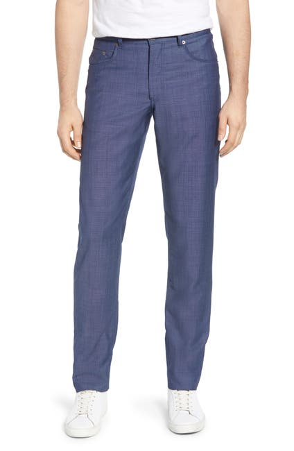 Image of Brax Cooper Five Pocket Straight Leg Solid Wool Trousers