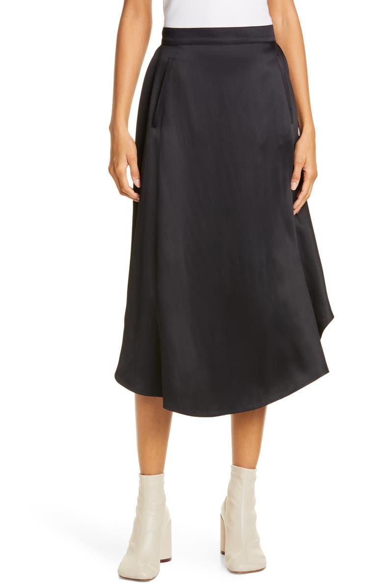 MM6 MAISON MARGIELA Silky Circle Skirt, Main, color, BLACK