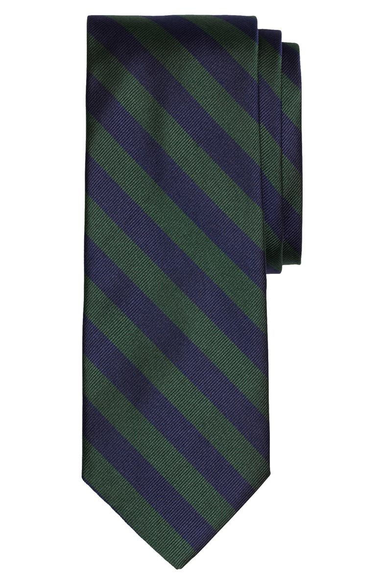 BROOKS BROTHERS Thick Stripe Silk Tie, Main, color, GREEN