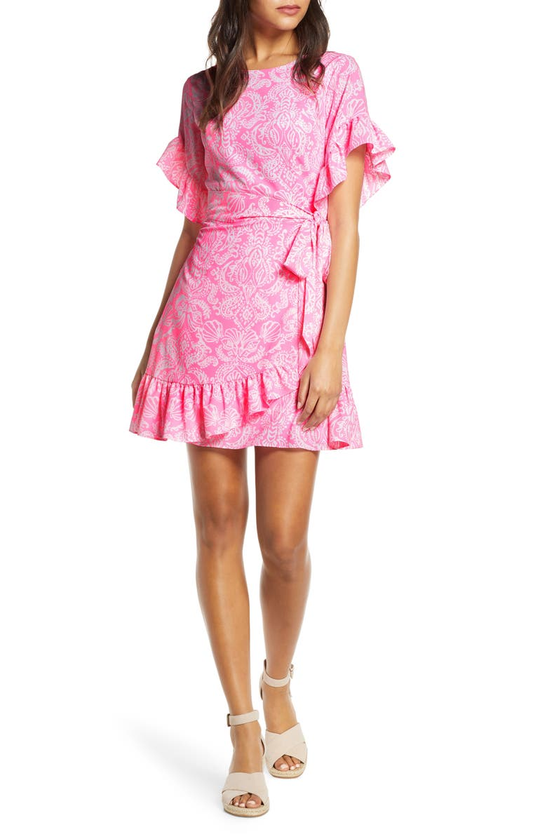 LILLY PULITZER<SUP>®</SUP> Darlah Ruffle Dress, Main, color, HAVANA PINK CLAWDIA