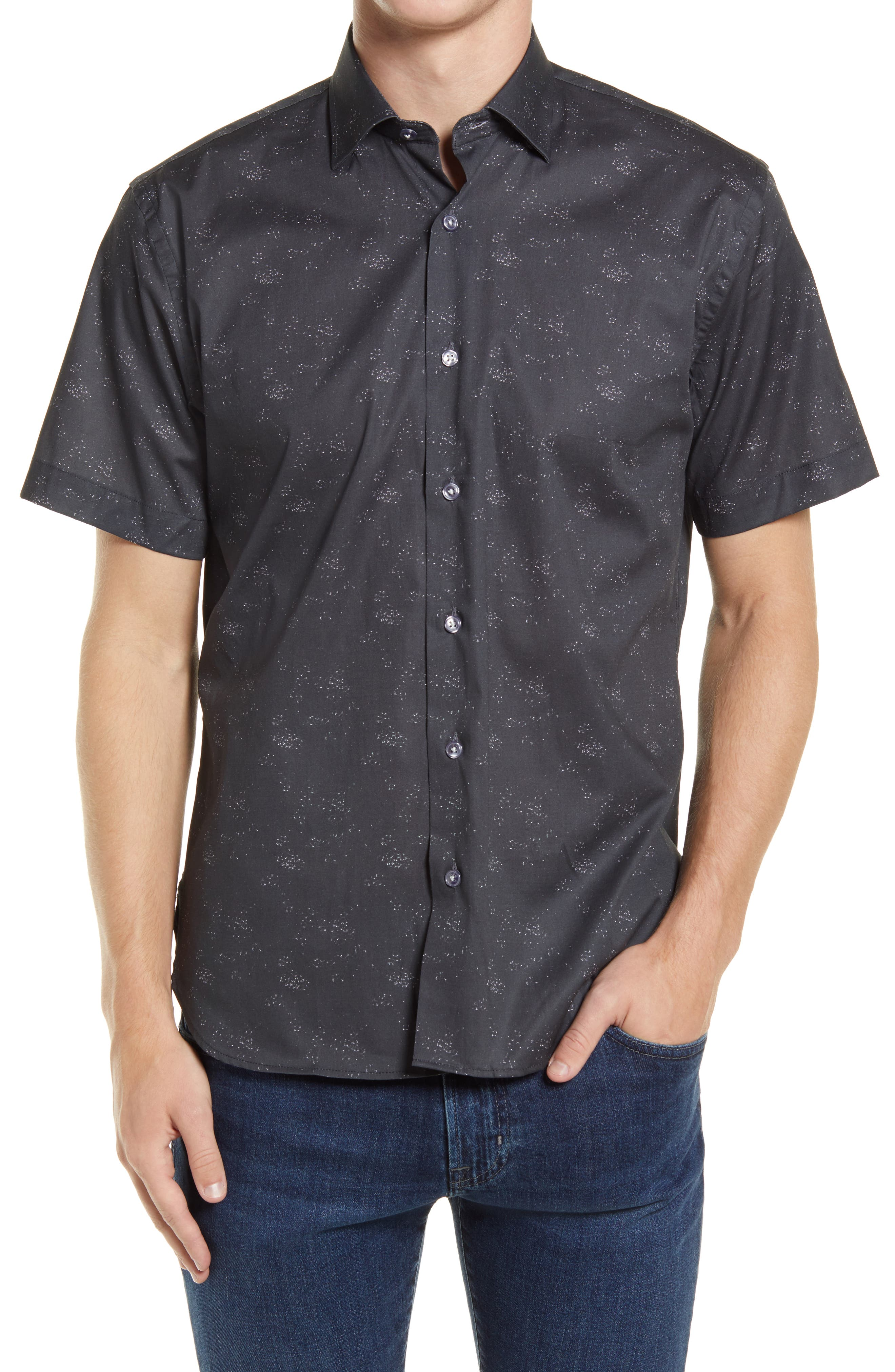 Outerspace Short Sleeve Stretch Button-Up Shirt