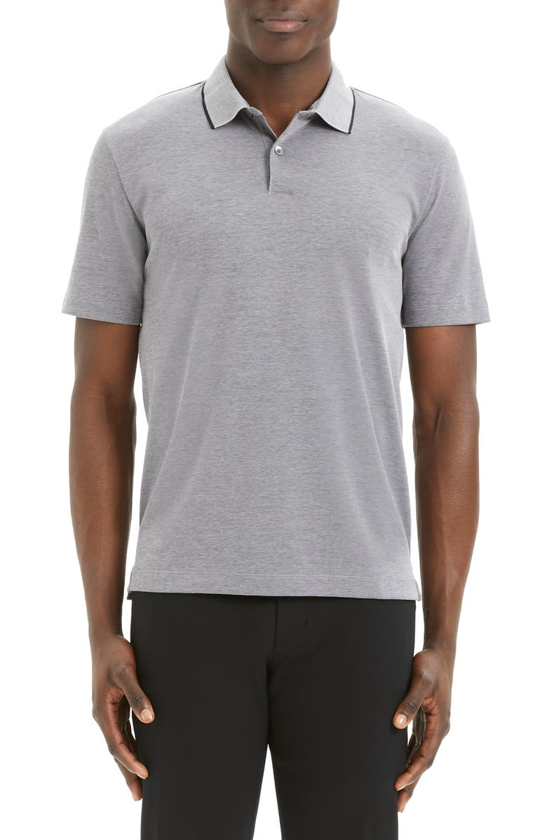 THEORY Curren Slim Fit Tipped Piqué Polo, Main, color, BLACK/ WHITE