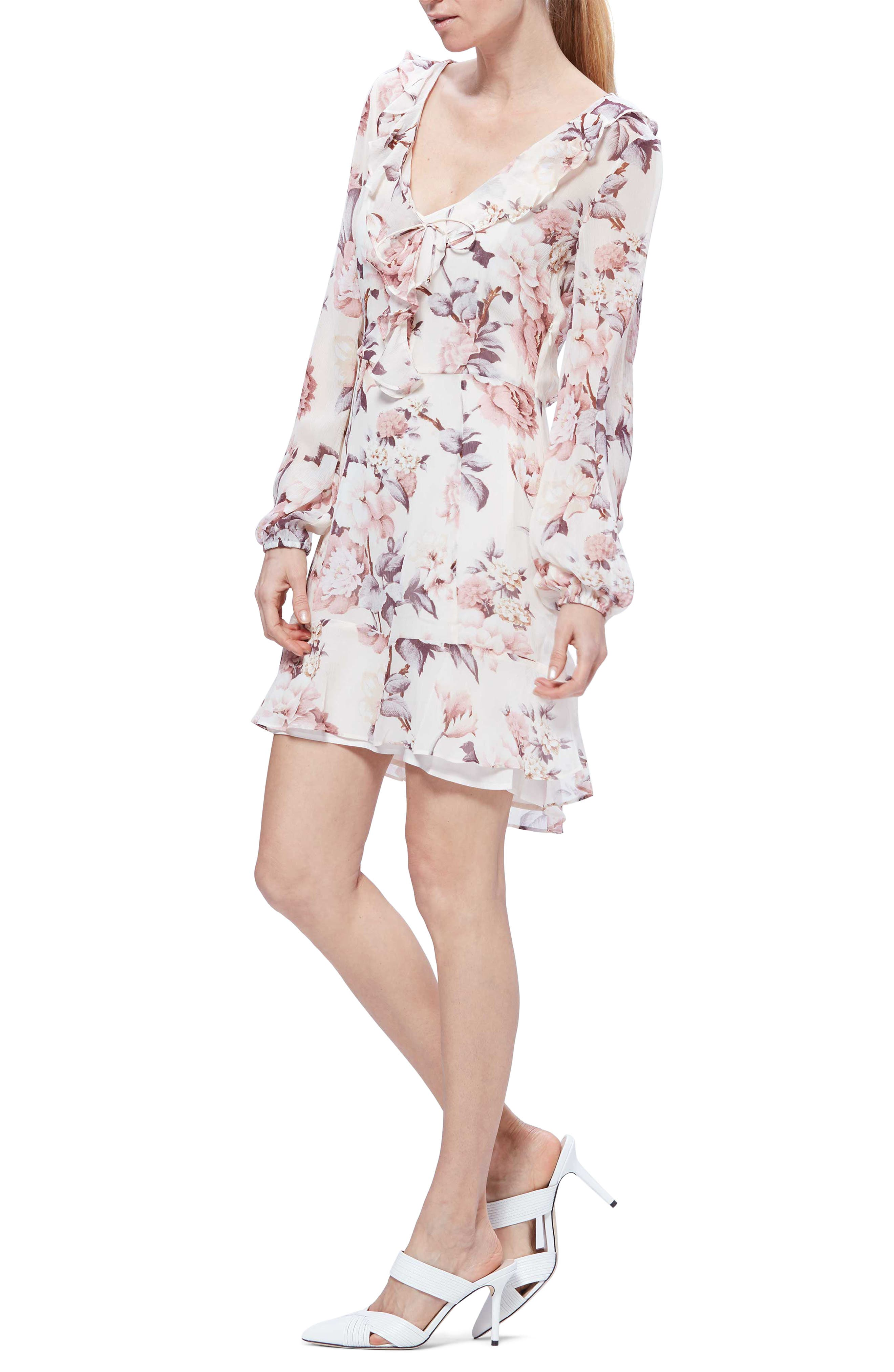 Paige Neha Floral Long Sleeve Silk Minidress, Ivory