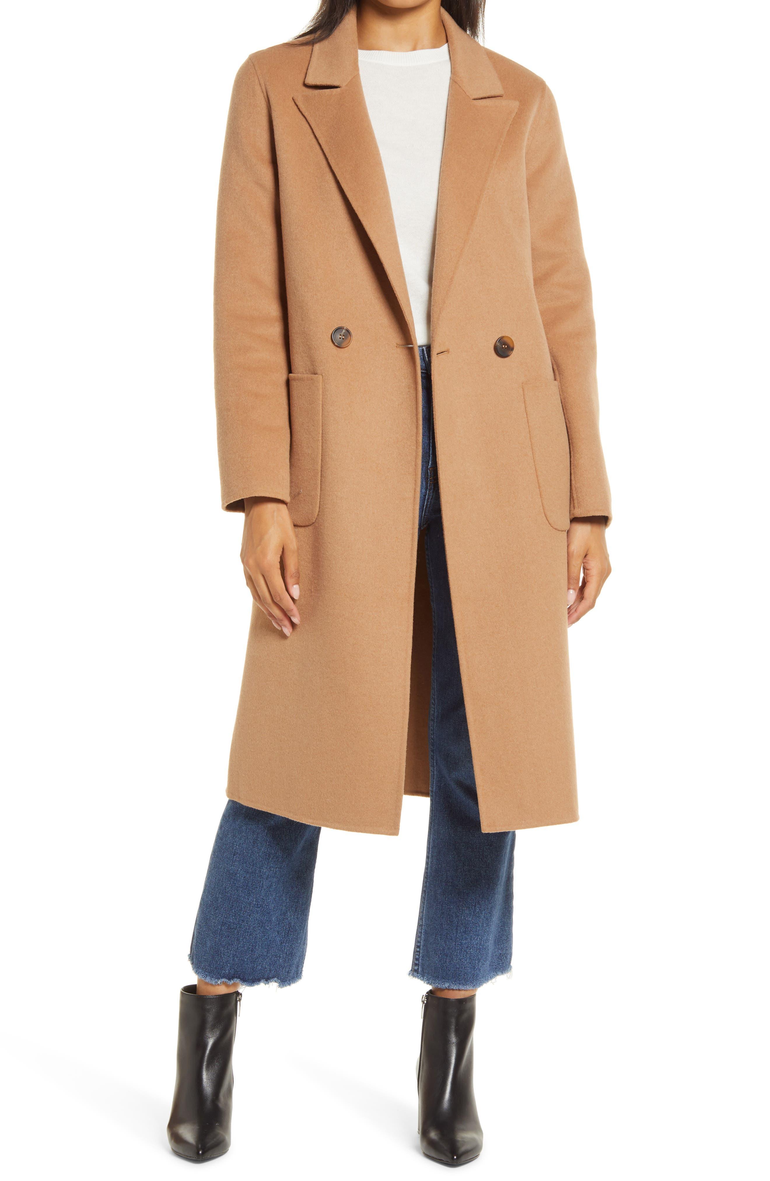 1920s Coats, Flapper Coats, 20s Jackets Womens Halogen Double Face Wool Coat $149.90 AT vintagedancer.com