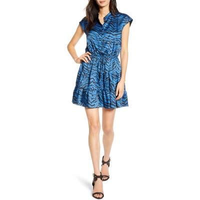 Rebecca Minkoff Ollie Zebra Print Satin Minidress, Blue