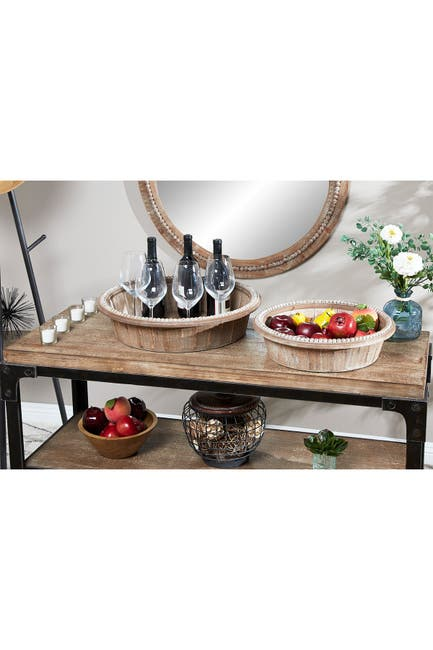 """Image of Willow Row Brown Wood Rustic Tray - 20"""" & 16"""" - Set of 2"""