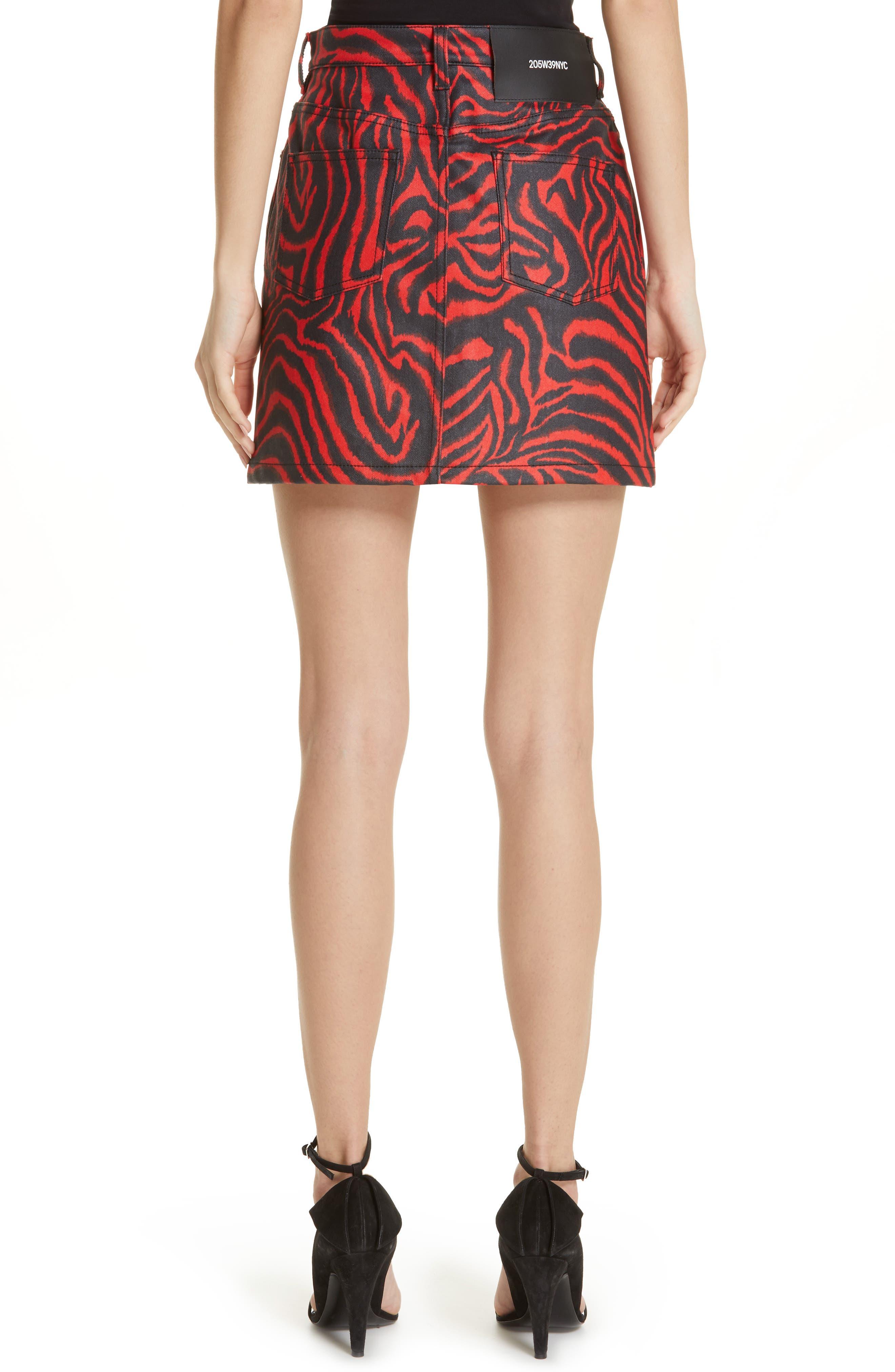 ,                             Zebra Print Denim Skirt,                             Alternate thumbnail 2, color,                             RED ZEBRA