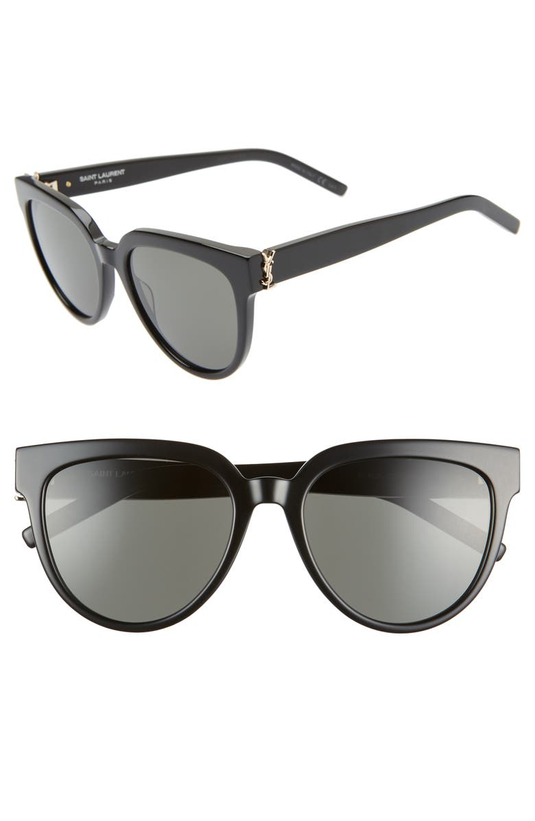 SAINT LAURENT 54mm Cat Eye Sunglasses, Main, color, BLACK/ GREY