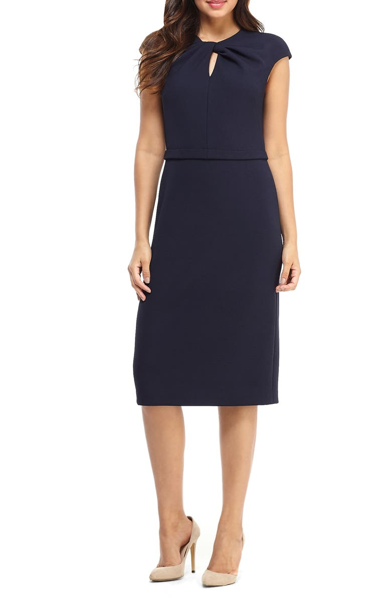 MAGGY LONDON Career Keyhole Twist Neck Dress, Main, color, NAVY