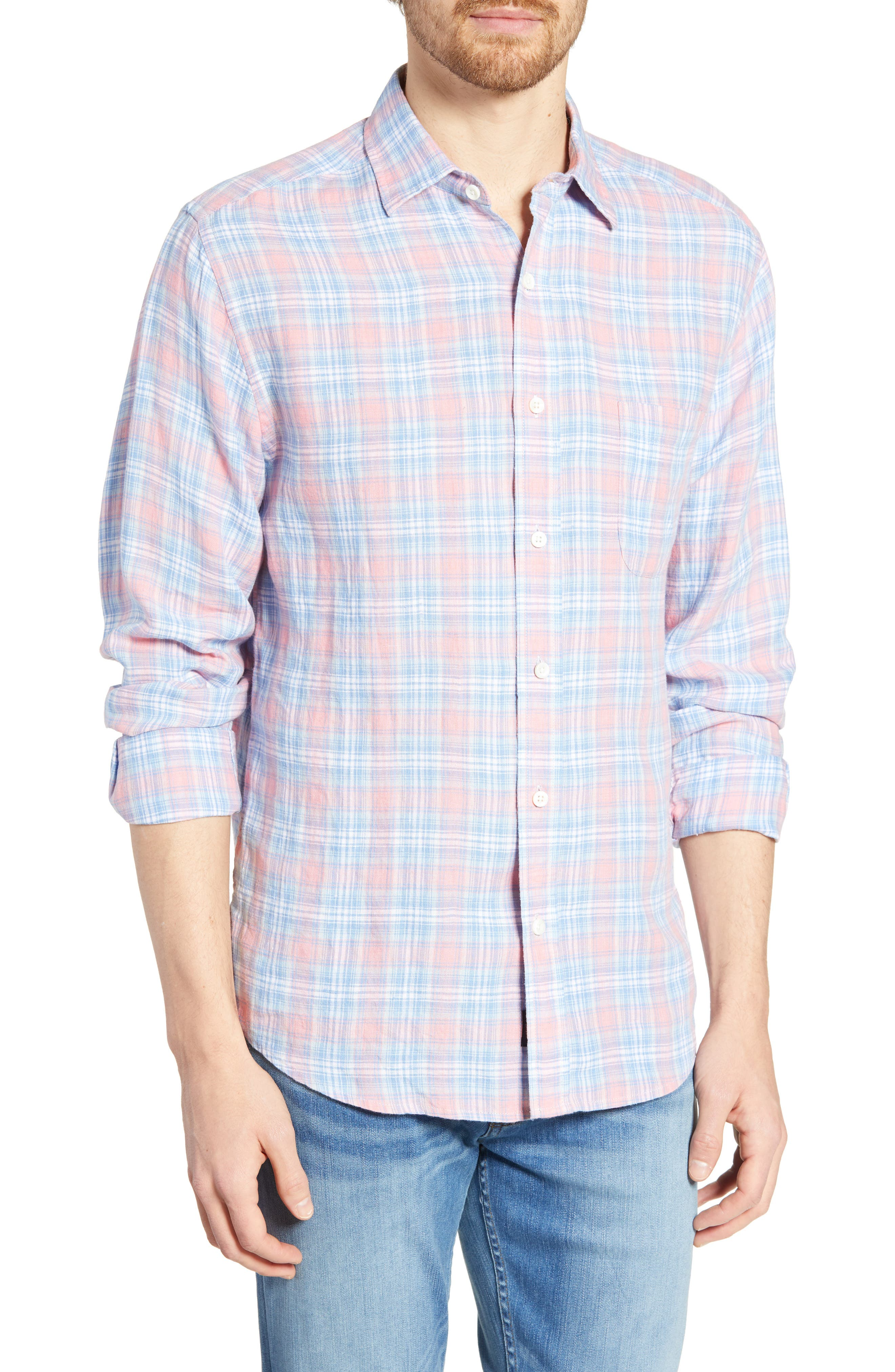 Faherty Ventura Regular Fit Plaid Linen Sport Shirt, Blue