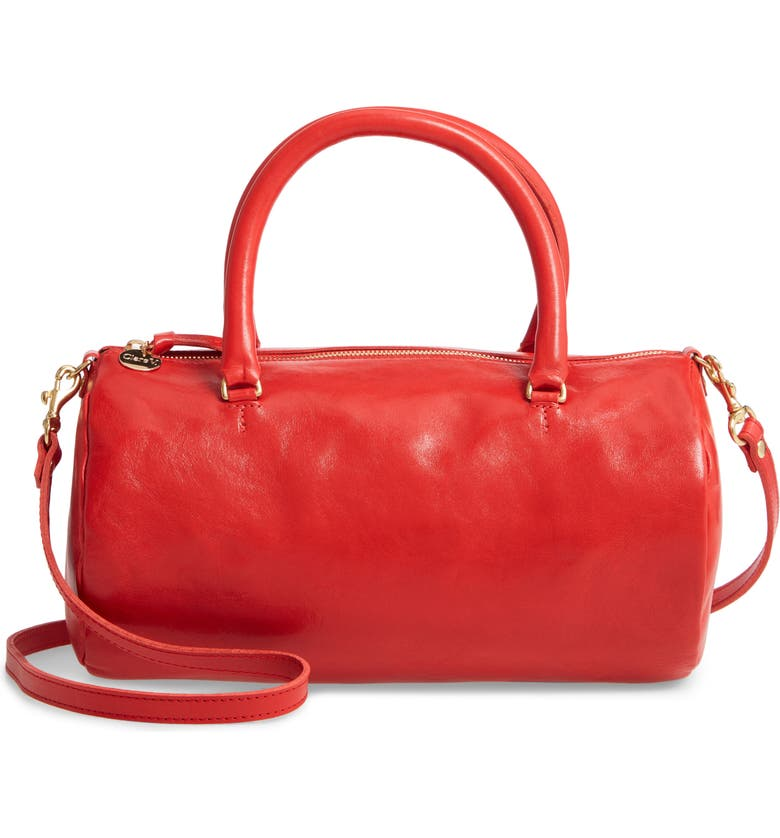 CLARE V. Grande Pepe Leather Barrel Bag, Main, color, CHERRY RED RUSTIC
