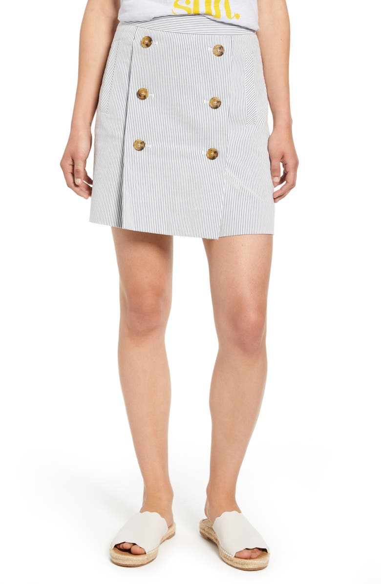 J.CREW Stretch Seersucker Button Front Miniskirt, Main, color, 400