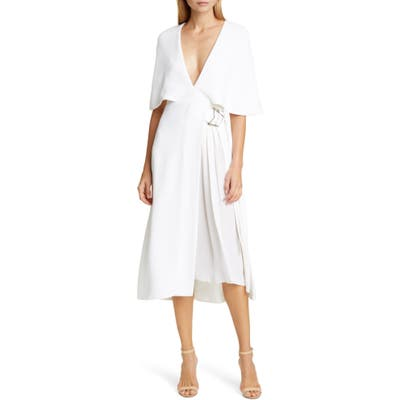 Cushnie Cape Sleeve Pleat Panel Midi Dress, White