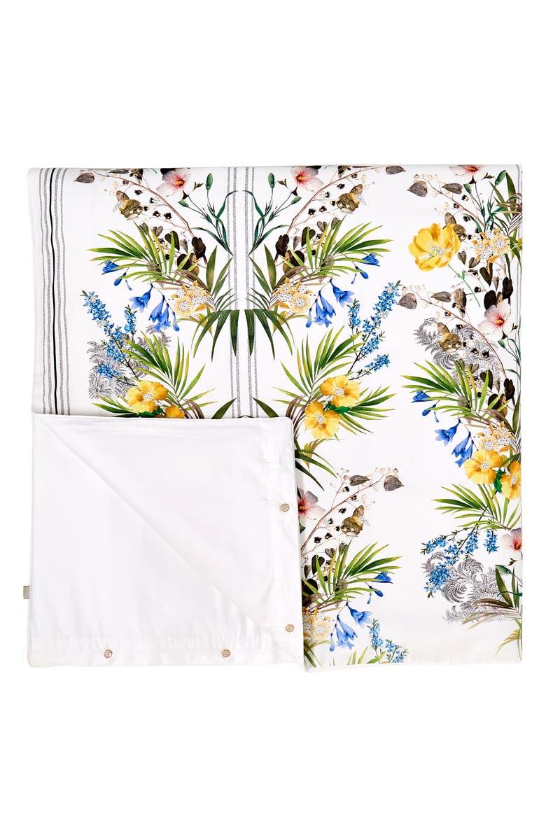 TED BAKER LONDON Royal Palm Duvet & Sham Set, Main, color, WHITE
