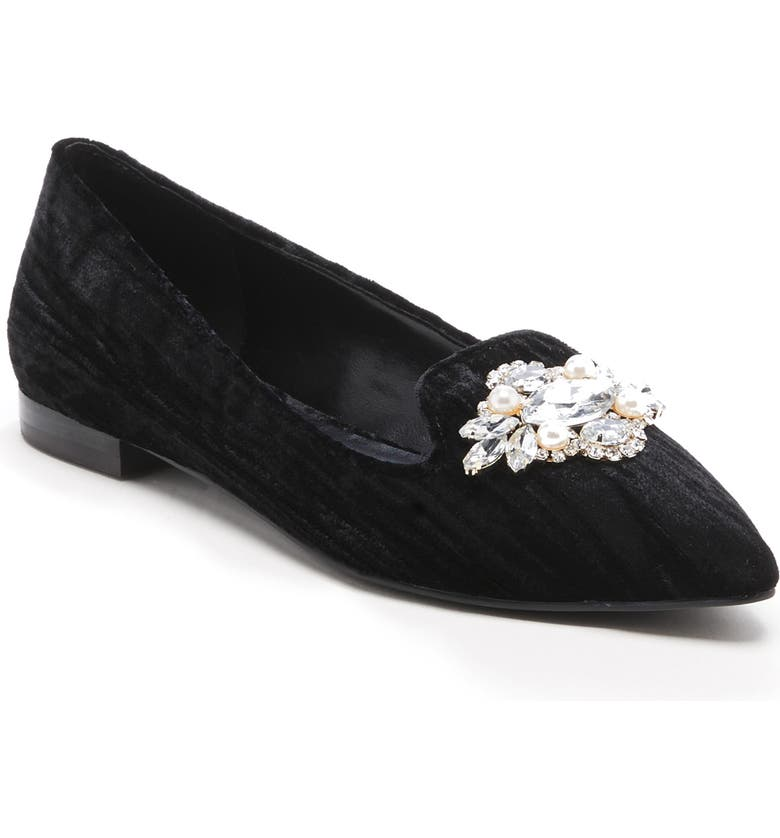 SOLE SOCIETY Libry Crystal Embellished Flat, Main, color, BLACK FABRIC