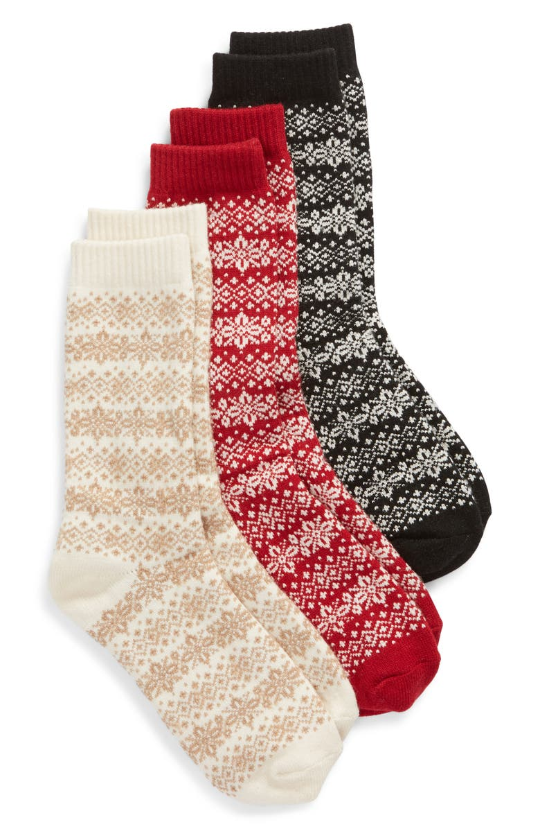 HUE 3-Pack Fair Isle Boot Socks, Main, color, 250