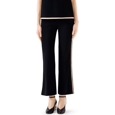 Gucci Side Stripe Stretch Cady Crop Flare Pants, US / 46 IT - Black