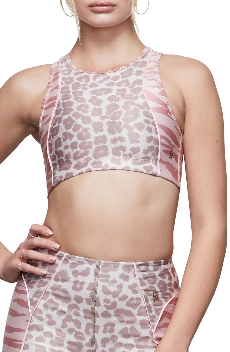 GOOD AMERICAN The Upper Cut Sports Bra, Main, color, MIXED ANIMAL002