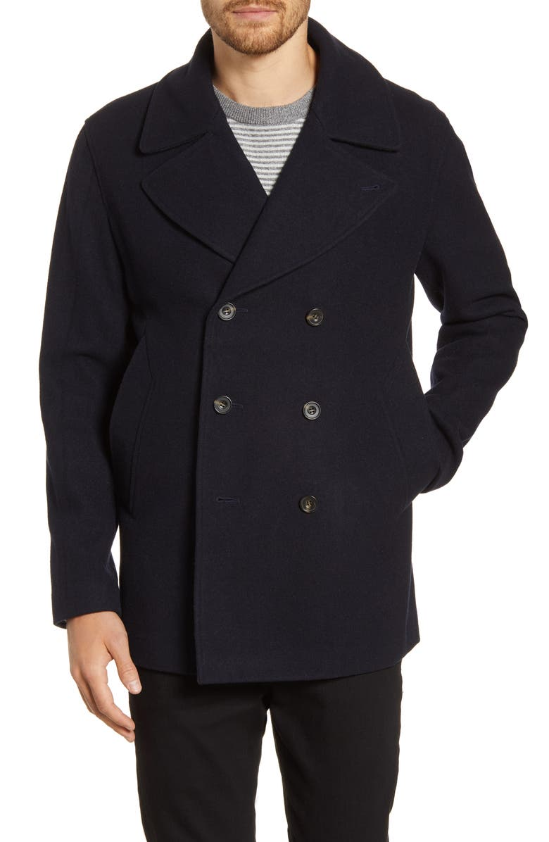 FRENCH CONNECTION Melton Peacoat, Main, color, INK BLUE