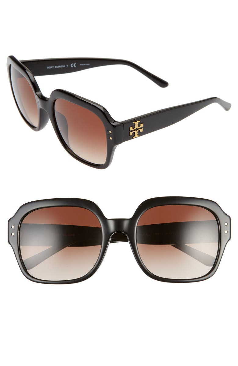 TORY BURCH 56mm Round Sunglasses, Main, color, BLACK/ DK BROWN GRADIENT