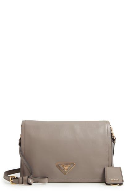 Prada Medium Glace Calfskin Leather Crossbody Bag - Grey In Argilla