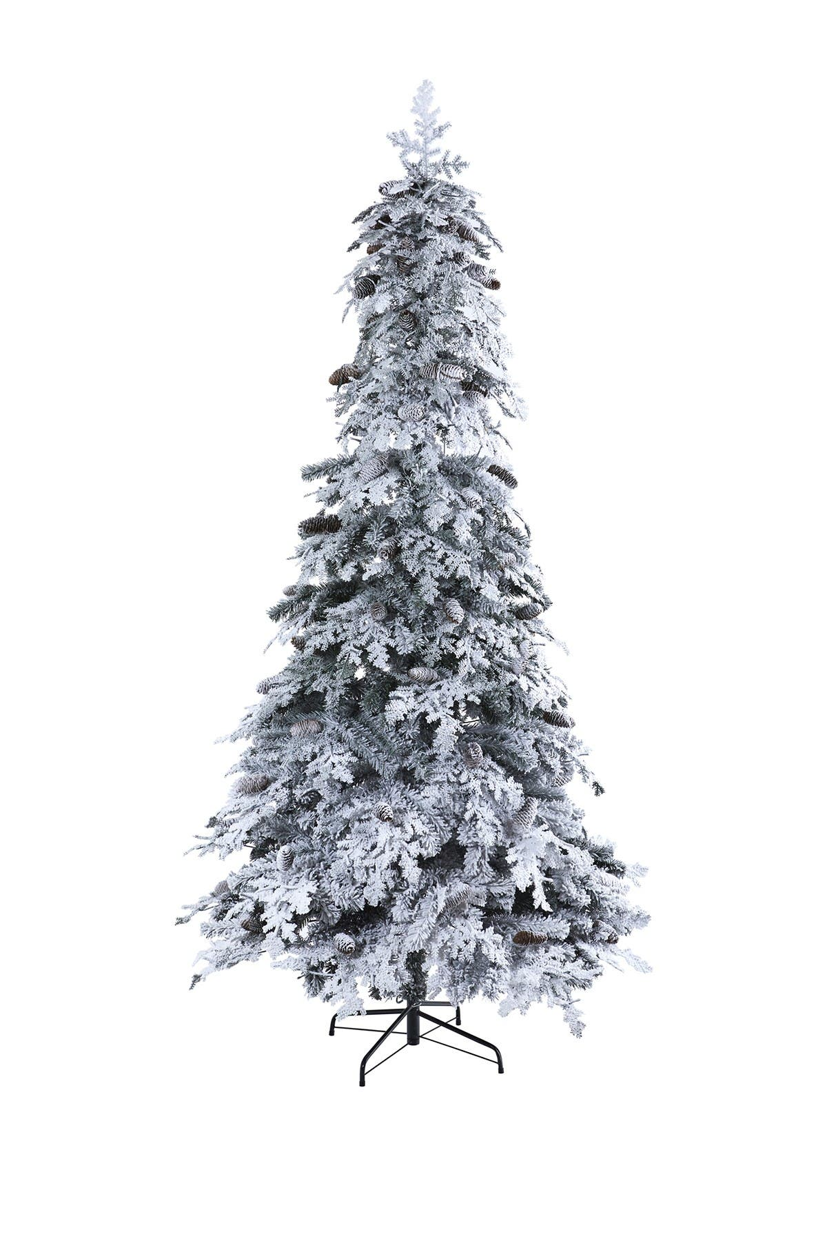 Image of NEARLY NATURAL 8ft. Flocked Montana Down Swept Spruce Artificial Christmas Tree