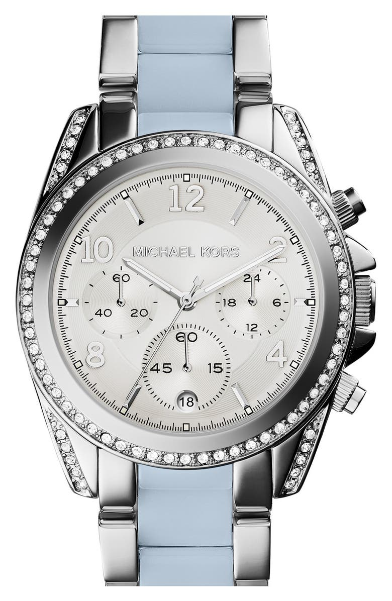 MICHAEL KORS 'Blair' Crystal Bezel Two-Tone Bracelet Watch, 39mm, Main, color, 040