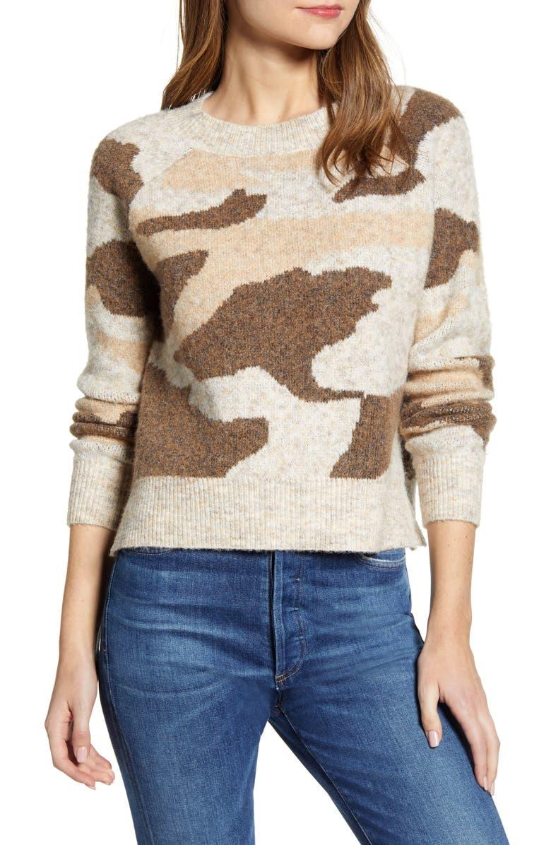 RD STYLE Camo Jacquard Crewneck Sweater, Main, color, NATURAL
