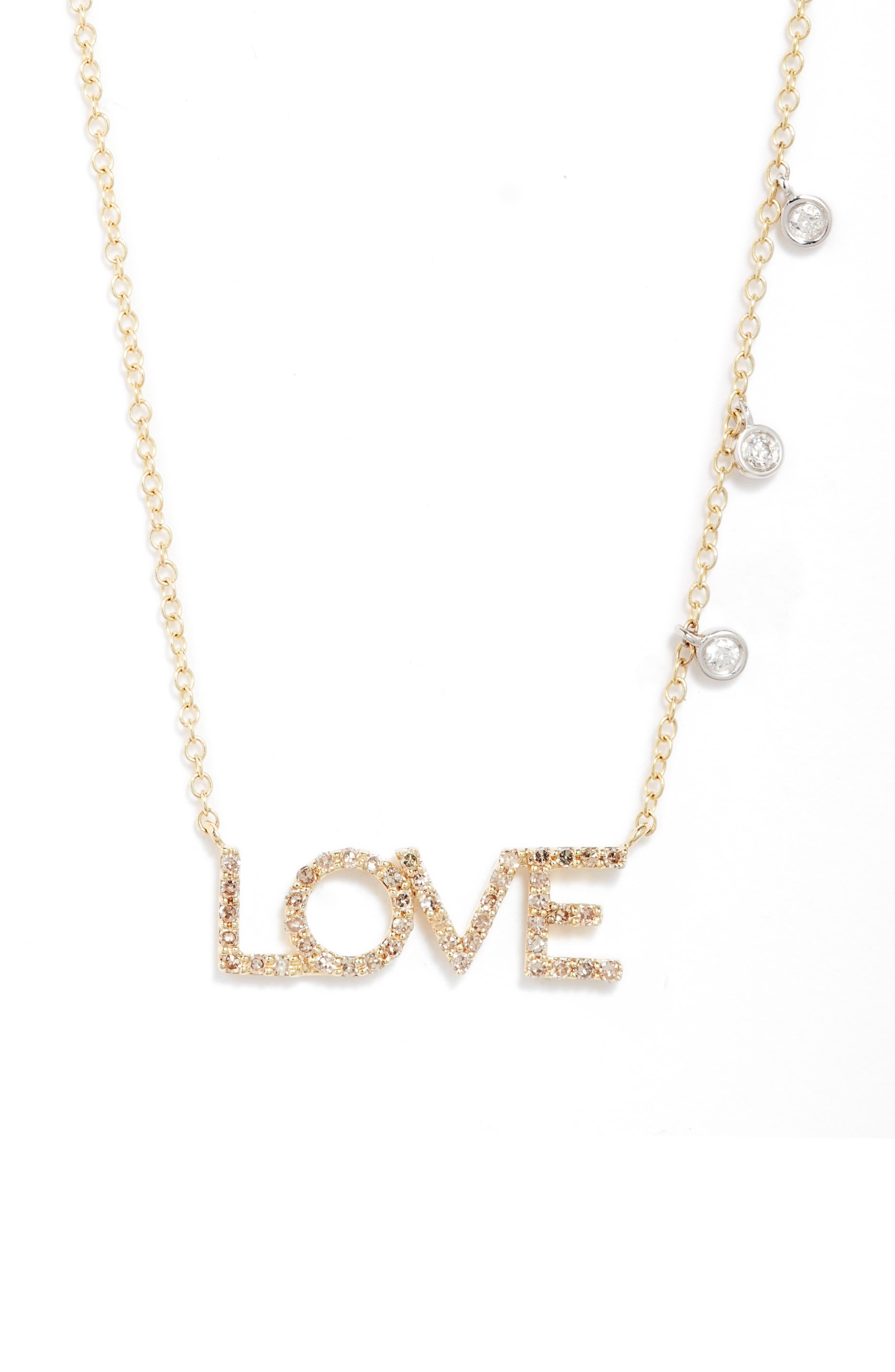 Pave Diamond Love & Bezel Necklace