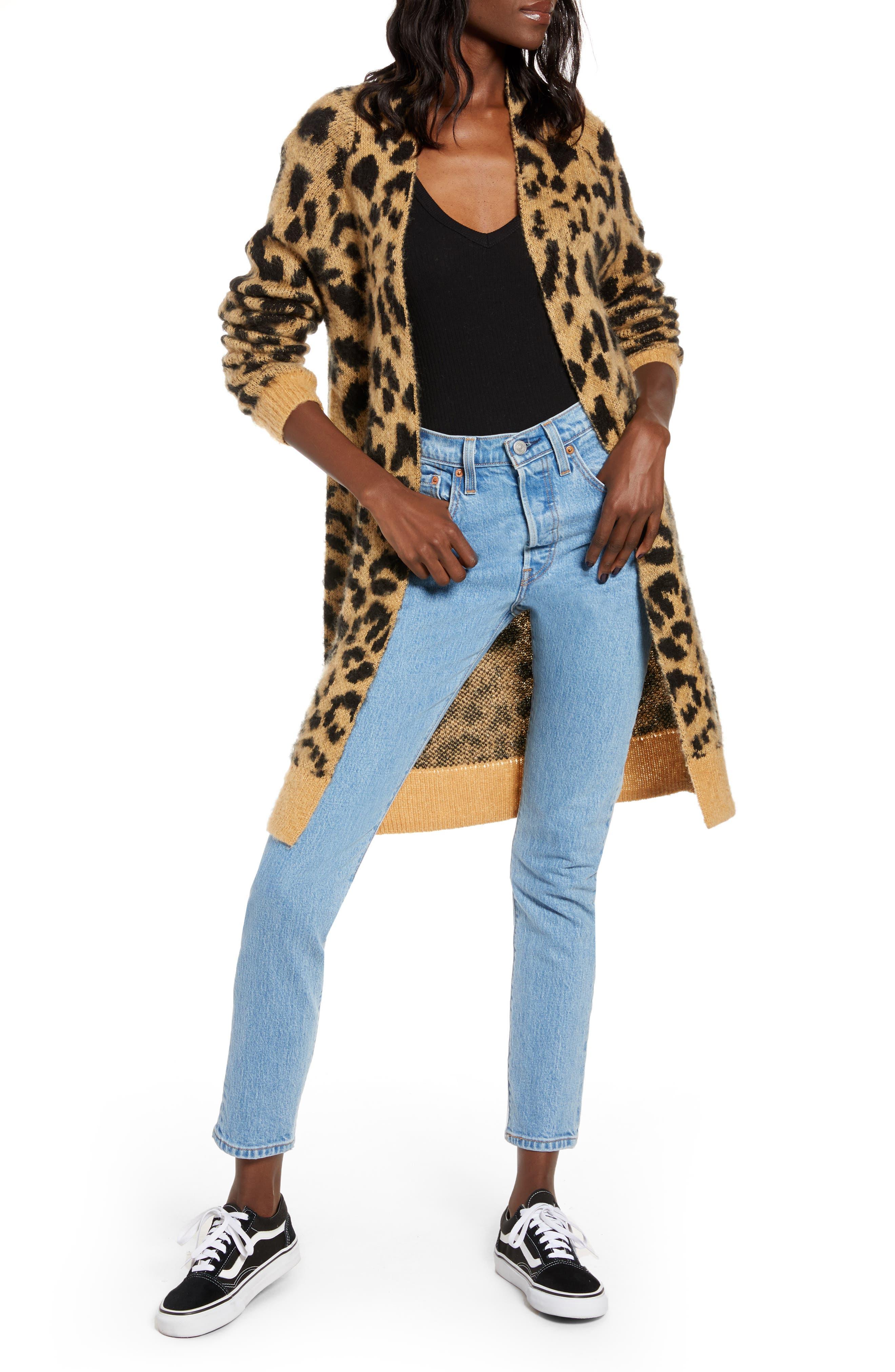 BP. Long Leopard Jacquard Cardigan